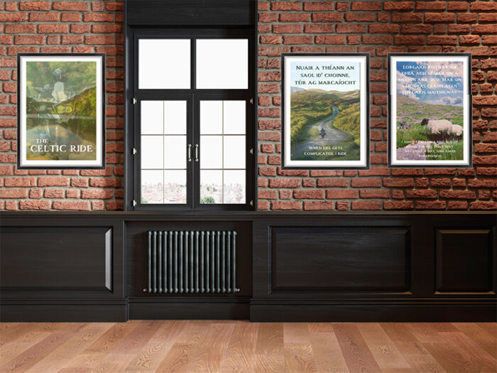 Limited Edition Mystic Ireland Prints against loft wall
