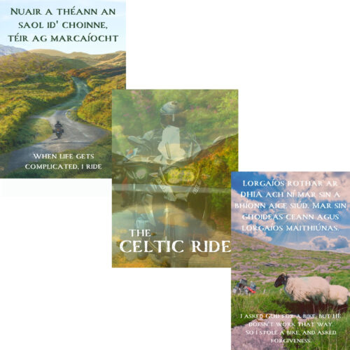 Three posters on a white background with The Celtic Ride logo on onne, and Irish text on the others against Irish backgrounds